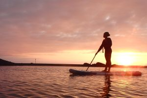 Paddle Boarding in Bude SeaPool at Sunset