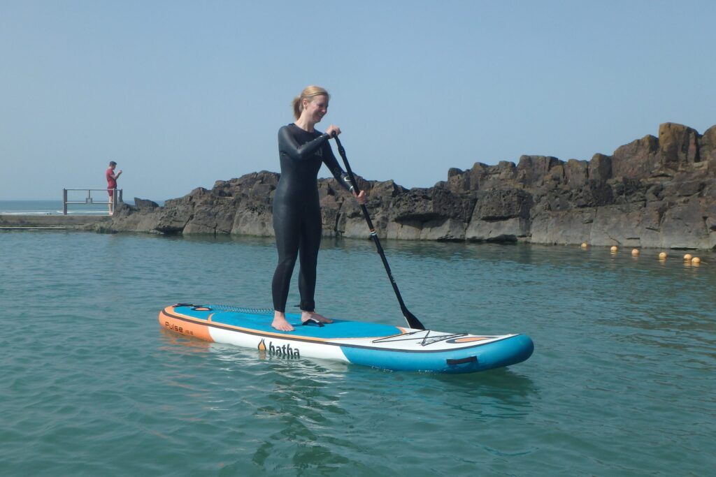 Paddle Boarding in Bude Sea Pool Session
